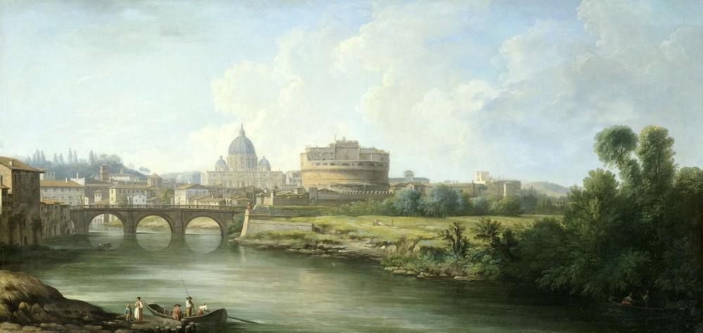 Gezicht op de Engelenburcht te Rome