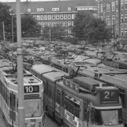 Remise met oude trams
