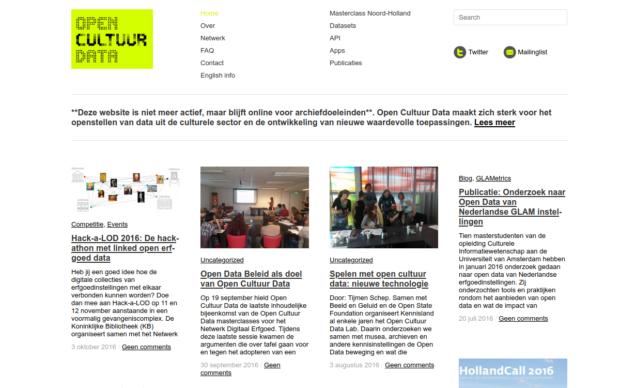 Screenshot van opencultuurdata.nl